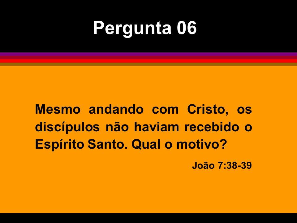Pergunta 06 Mesmo andando com Cristo, os discípulos não haviam recebido o Espírito Santo. Qual o motivo