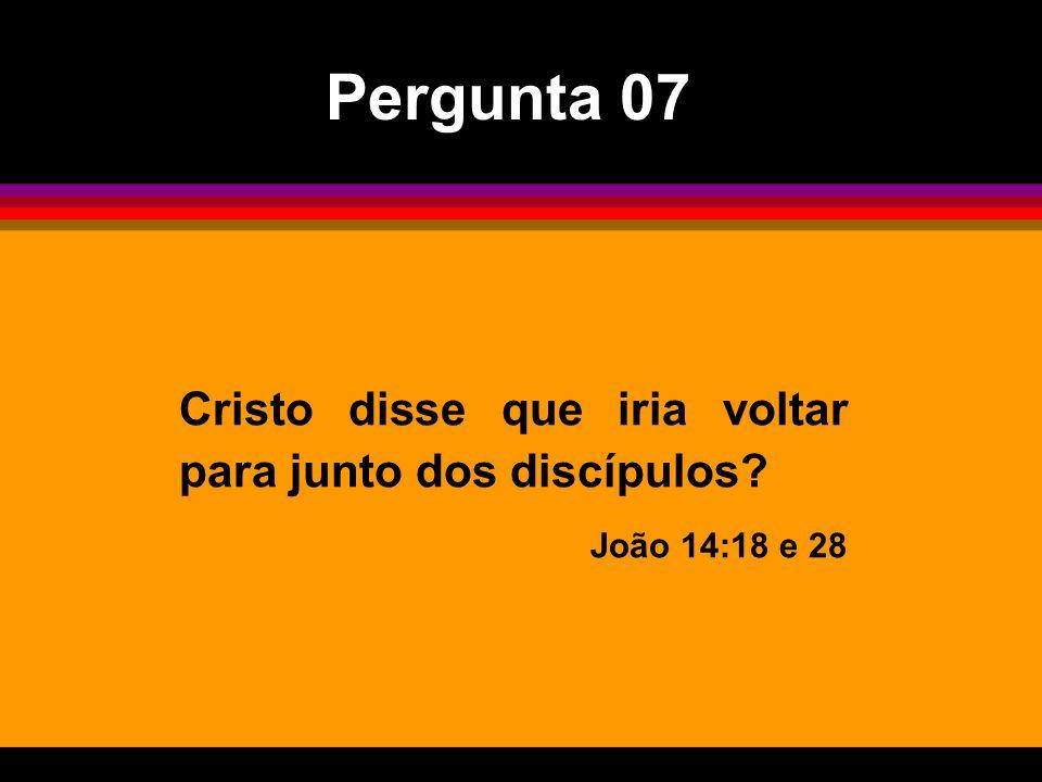 Pergunta 07 Cristo disse que iria voltar para junto dos discípulos
