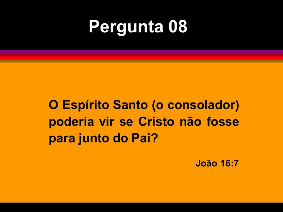 Pergunta 08 O Espírito Santo (o consolador) poderia vir se Cristo não fosse para junto do Pai.