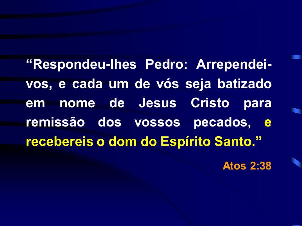 Respondeu-lhes Pedro: Arrependei-vos, e cada um de vós seja batizado em nome de Jesus Cristo para remissão dos vossos pecados, e recebereis o dom do Espírito Santo.