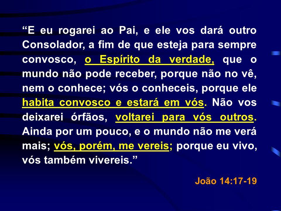 E eu rogarei ao Pai, e ele vos dará outro Consolador, a fim de que esteja para sempre convosco, o Espírito da verdade, que o mundo não pode receber, porque não no vê, nem o conhece; vós o conheceis, porque ele habita convosco e estará em vós. Não vos deixarei órfãos, voltarei para vós outros. Ainda por um pouco, e o mundo não me verá mais; vós, porém, me vereis; porque eu vivo, vós também vivereis.