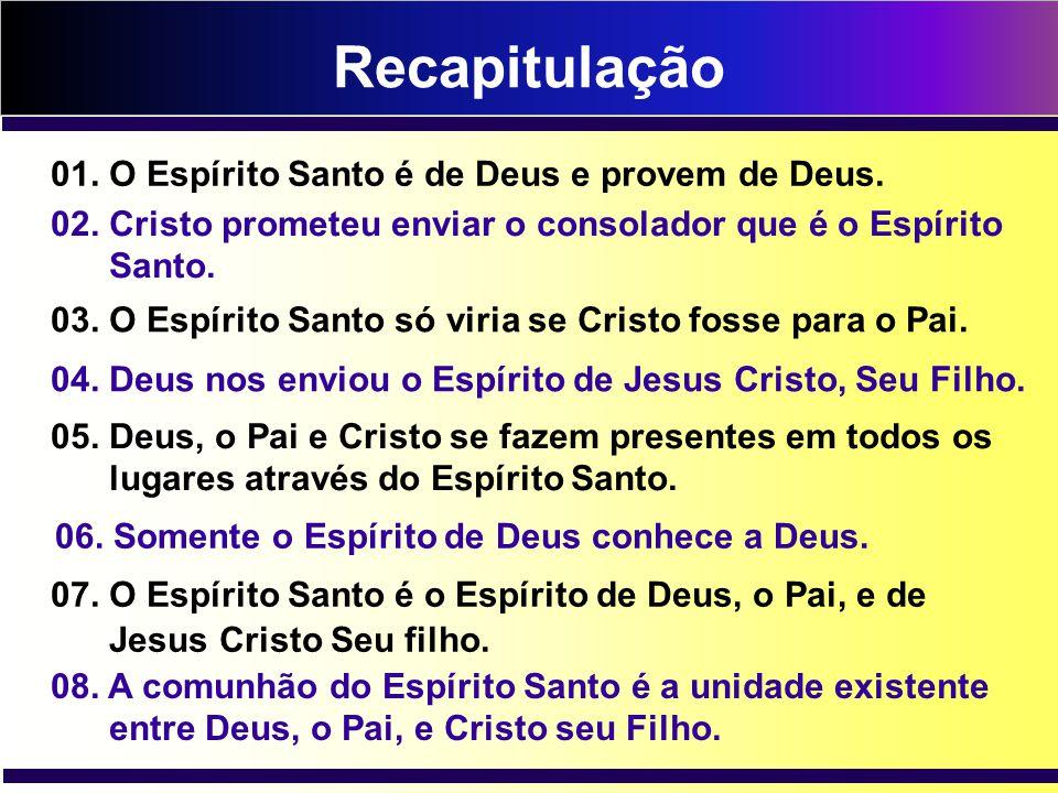 Recapitulação 01. O Espírito Santo é de Deus e provem de Deus.