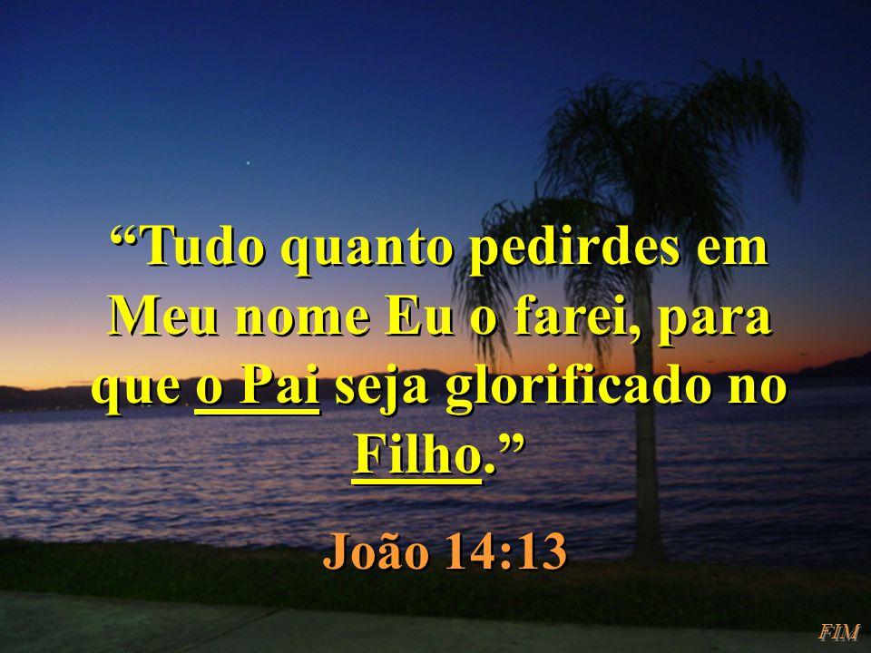 Tudo quanto pedirdes em Meu nome Eu o farei, para que o Pai seja glorificado no Filho.