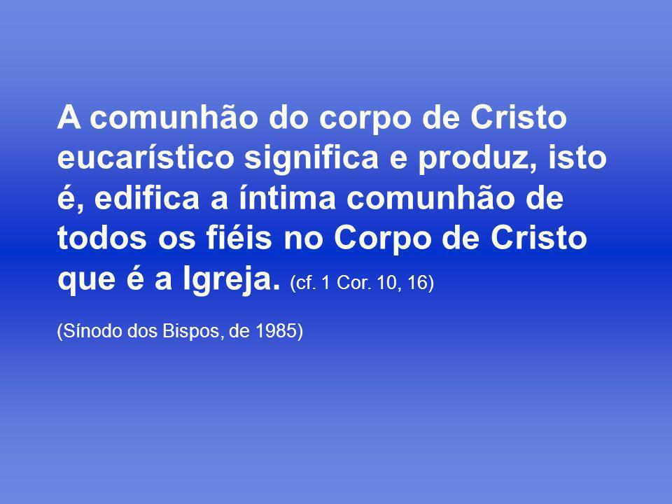 A comunhão do corpo de Cristo eucarístico significa e produz, isto é, edifica a íntima comunhão de todos os fiéis no Corpo de Cristo que é a Igreja. (cf. 1 Cor. 10, 16)
