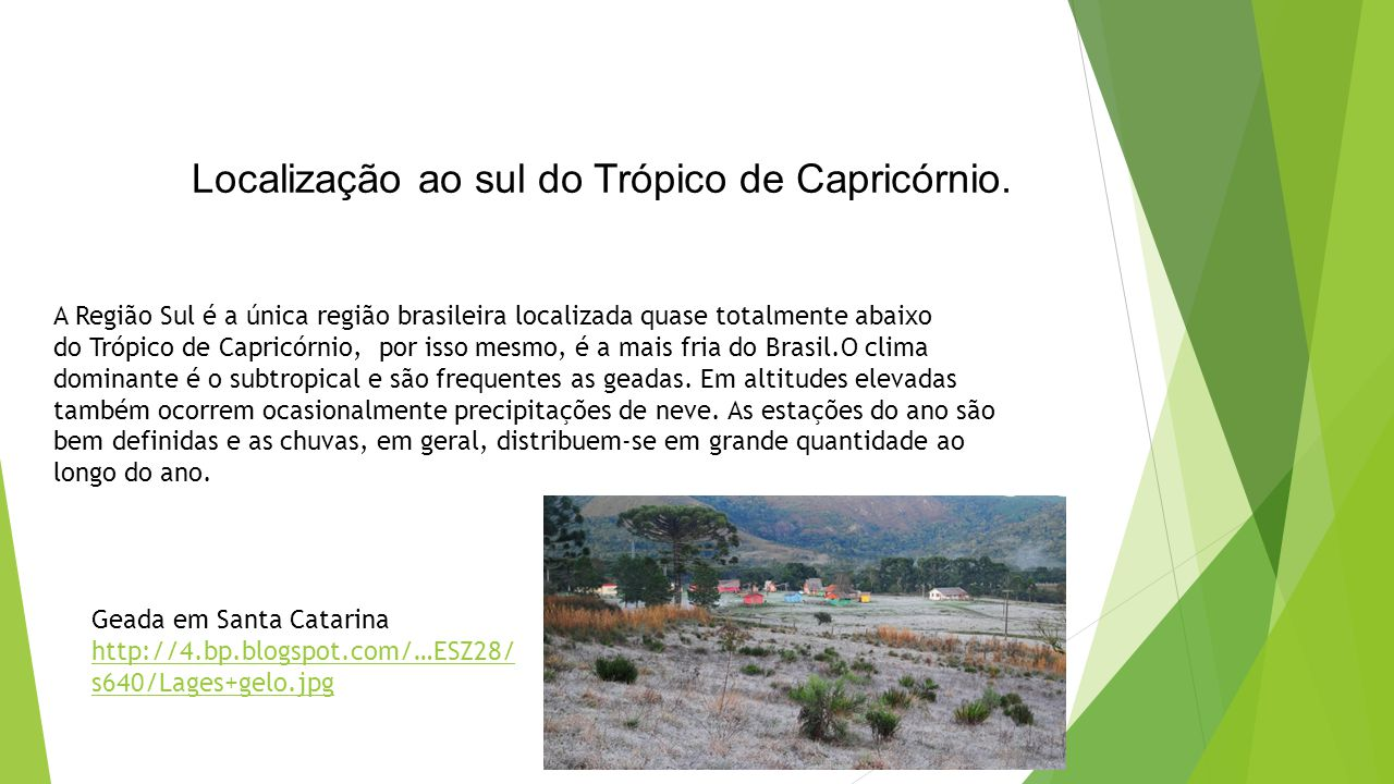 Localização ao sul do Trópico de Capricórnio.