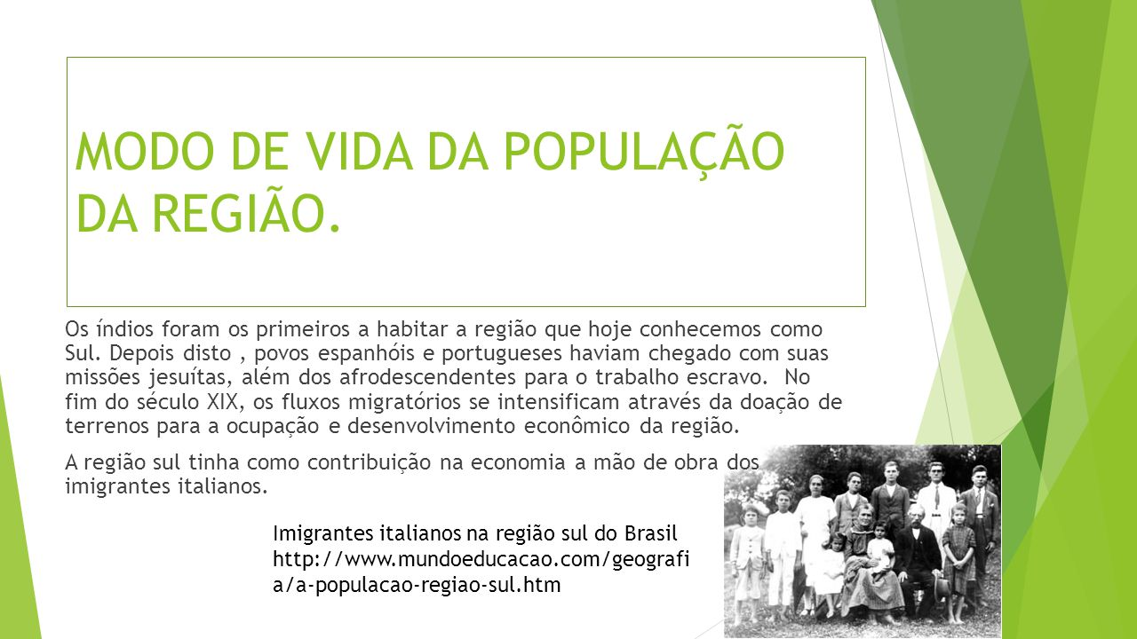 MODO DE VIDA DA POPULAÇÃO DA REGIÃO.