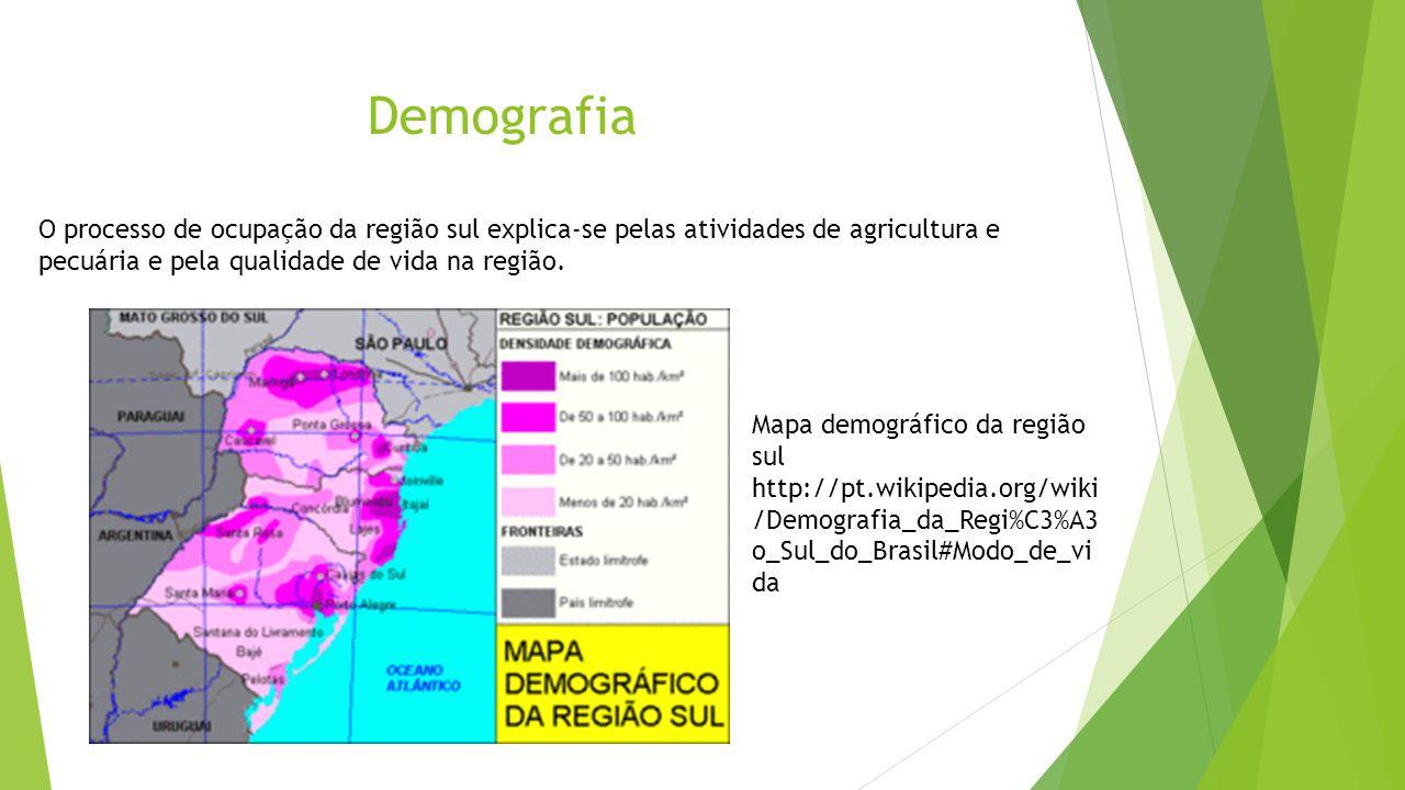 Demografia O processo de ocupação da região sul explica-se pelas atividades de agricultura e pecuária e pela qualidade de vida na região.