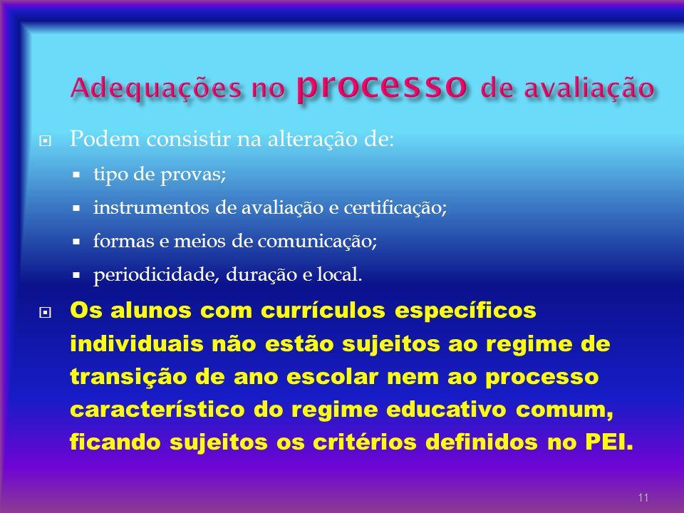 Adequações no processo de avaliação