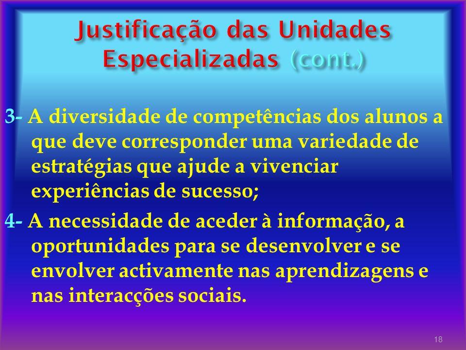 Justificação das Unidades Especializadas (cont.)
