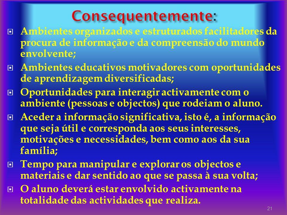 Consequentemente: Ambientes organizados e estruturados facilitadores da procura de informação e da compreensão do mundo envolvente;