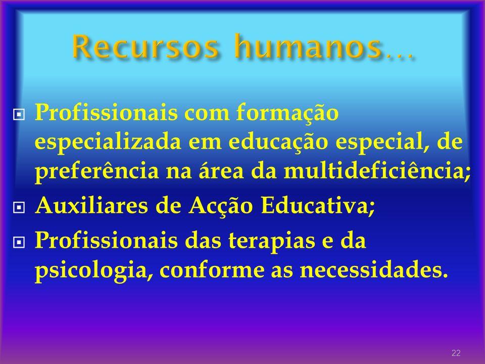 Recursos humanos… Profissionais com formação especializada em educação especial, de preferência na área da multideficiência;