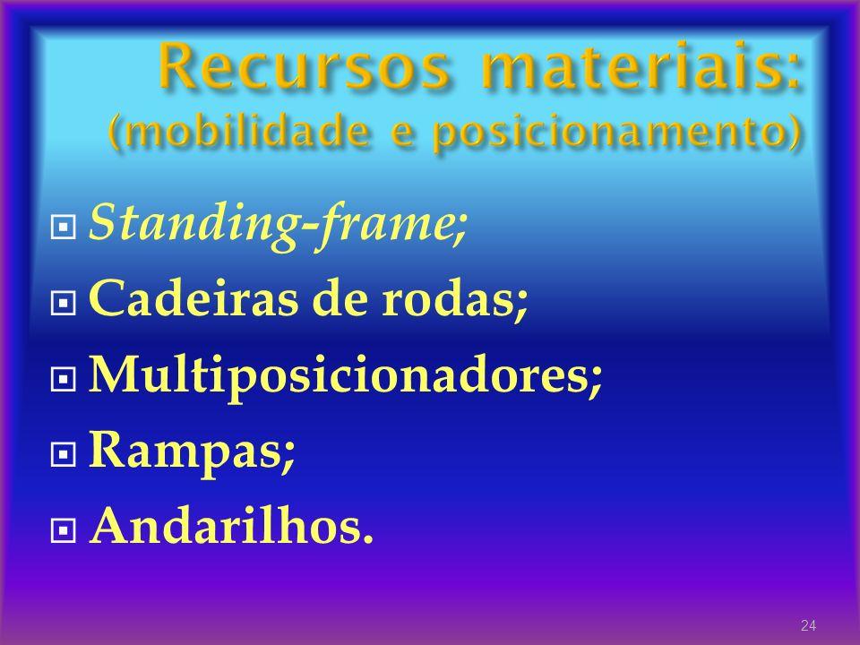 Recursos materiais: (mobilidade e posicionamento)