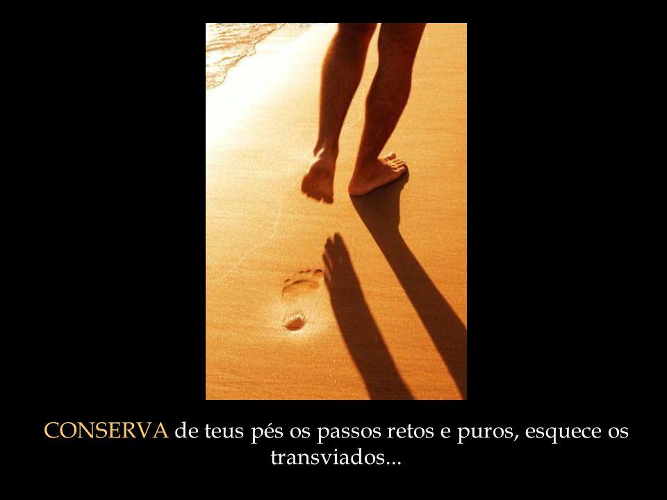 CONSERVA de teus pés os passos retos e puros, esquece os transviados...