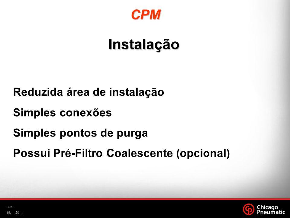 Instalação CPM Reduzida área de instalação Simples conexões