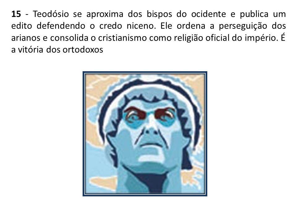 15 - Teodósio se aproxima dos bispos do ocidente e publica um edito defendendo o credo niceno.