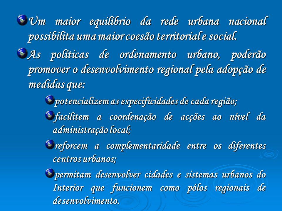 Um maior equilíbrio da rede urbana nacional possibilita uma maior coesão territorial e social.