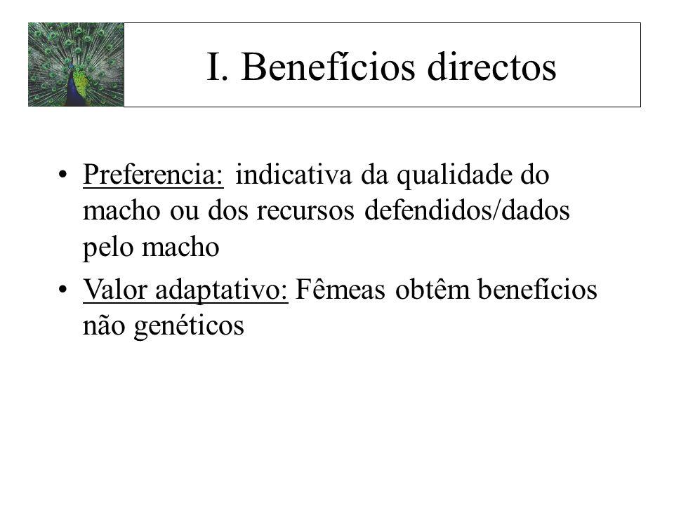 I. Benefícios directos Preferencia: indicativa da qualidade do macho ou dos recursos defendidos/dados pelo macho.
