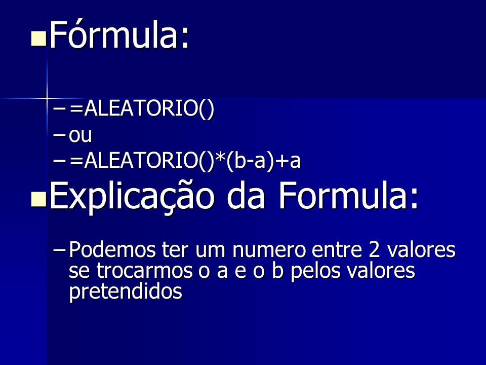 Explicação da Formula:
