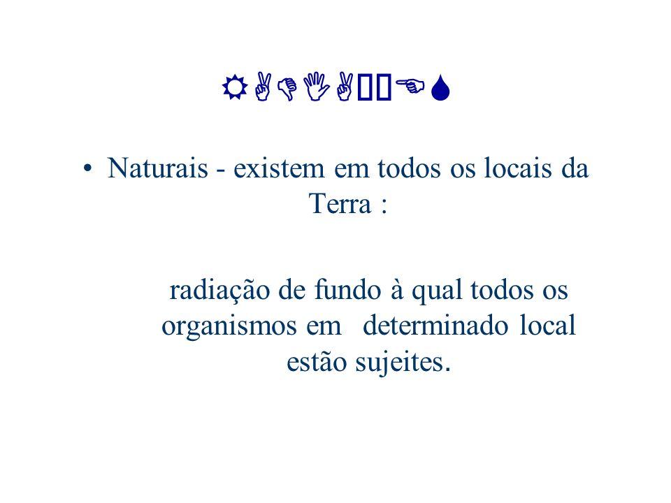 Naturais - existem em todos os locais da Terra :
