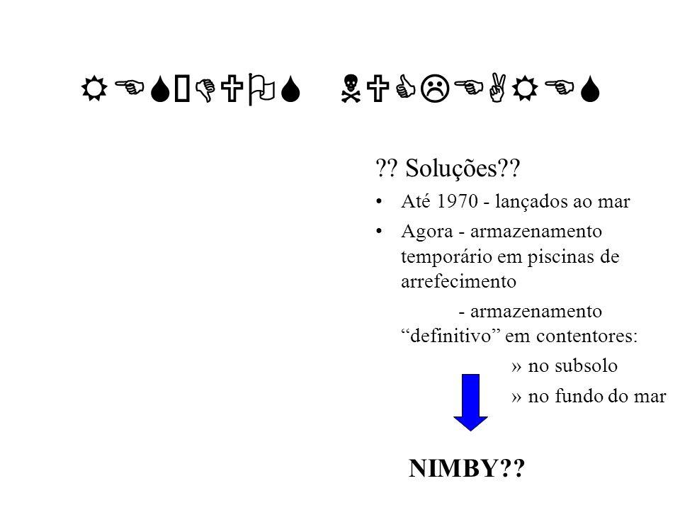 RESÍDUOS NUCLEARES Soluções NIMBY Até 1970 - lançados ao mar