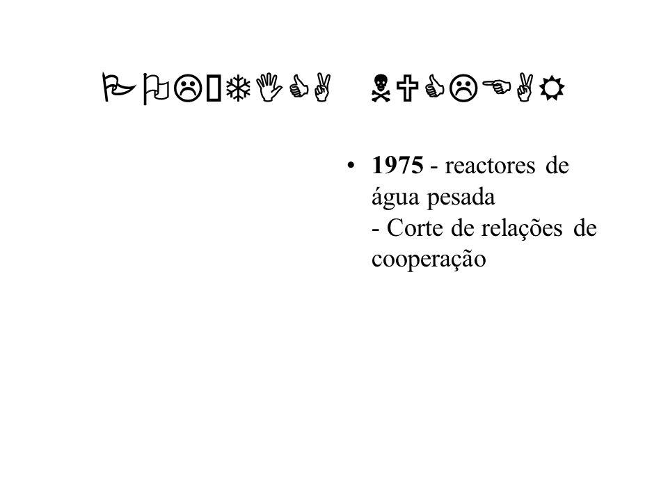 POLÍTICA NUCLEAR1975 - reactores de água pesada - Corte de relações de cooperação.