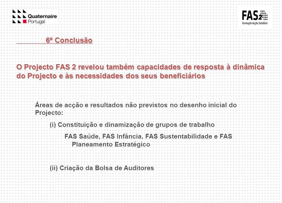 6ª Conclusão O Projecto FAS 2 revelou também capacidades de resposta à dinâmica do Projecto e às necessidades dos seus beneficiários.