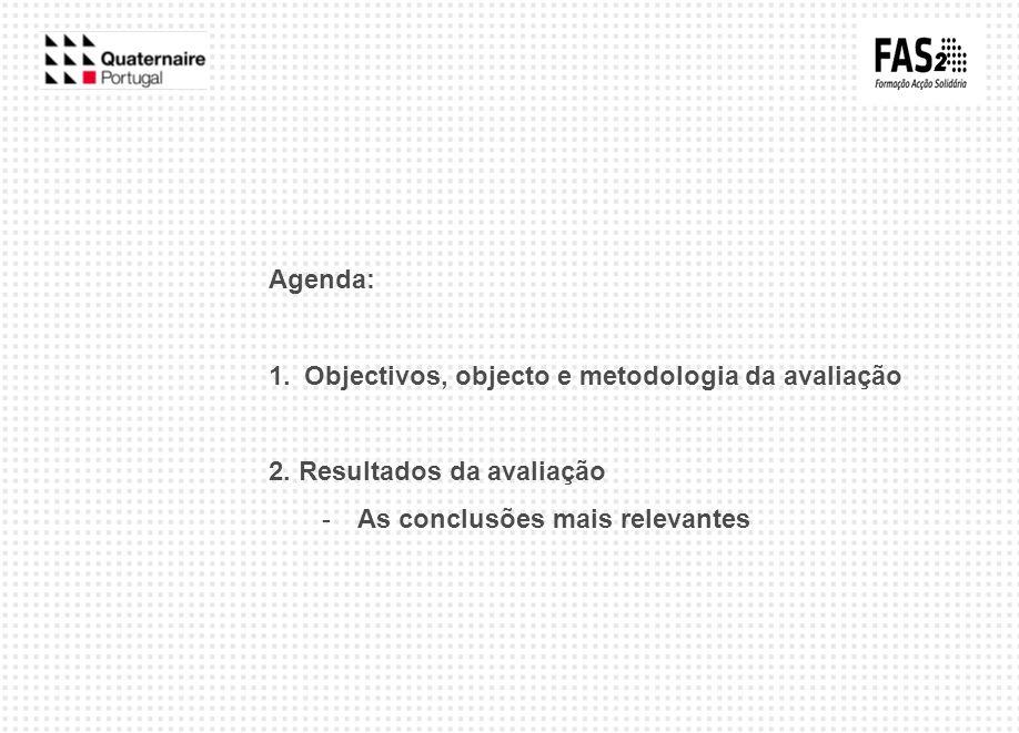 Agenda: Objectivos, objecto e metodologia da avaliação.