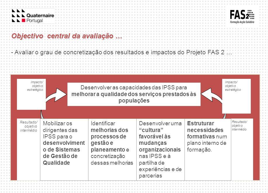 Objectivo central da avaliação …