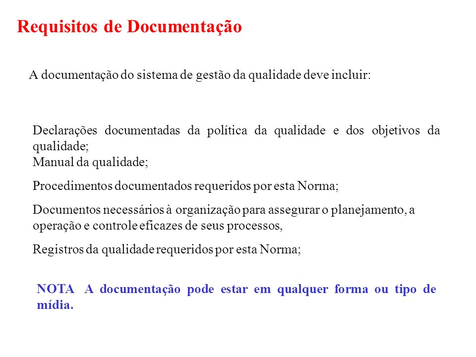 Requisitos de Documentação