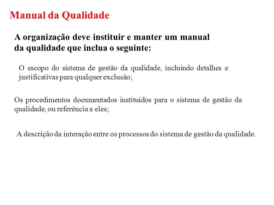 Manual da Qualidade A organização deve instituir e manter um manual da qualidade que inclua o seguinte: