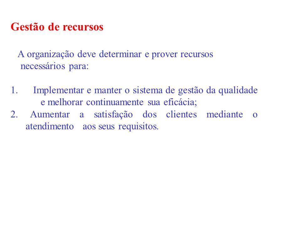 Gestão de recursos A organização deve determinar e prover recursos