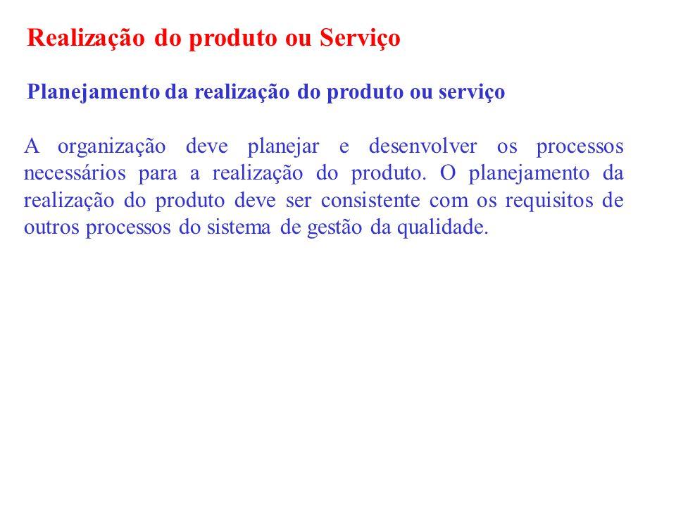 Realização do produto ou Serviço