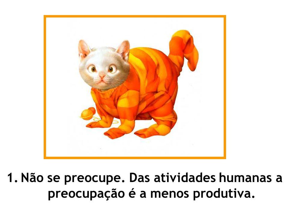 1. Não se preocupe. Das atividades humanas a preocupação é a menos produtiva.