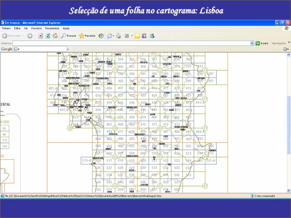 Selecção de uma folha no cartograma: Lisboa
