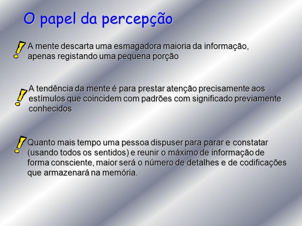 O papel da percepção A mente descarta uma esmagadora maioria da informação, apenas registando uma pequena porção.
