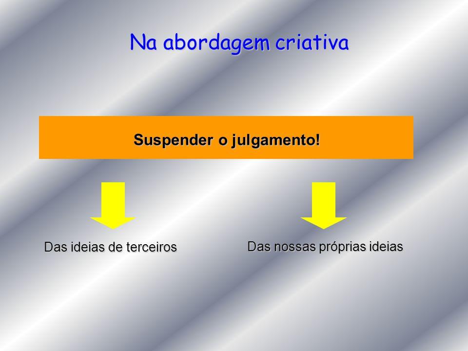 Na abordagem criativa Suspender o julgamento! Das ideias de terceiros