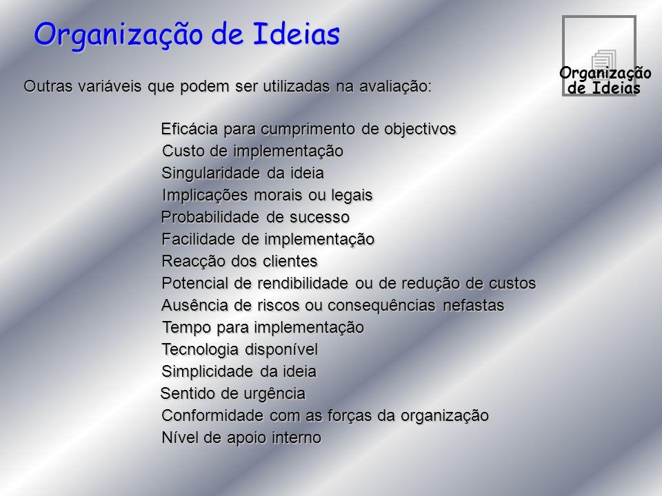 Organização de Ideias 4. Organização. de Ideias. Outras variáveis que podem ser utilizadas na avaliação: