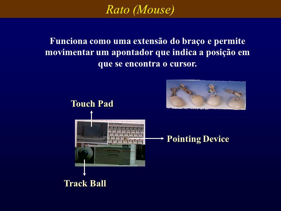 Rato (Mouse) Funciona como uma extensão do braço e permite movimentar um apontador que indica a posição em que se encontra o cursor.