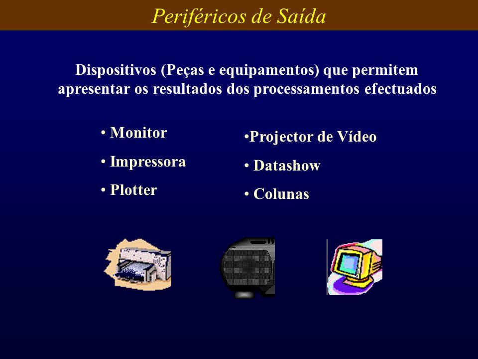 Periféricos de Saída Dispositivos (Peças e equipamentos) que permitem apresentar os resultados dos processamentos efectuados.