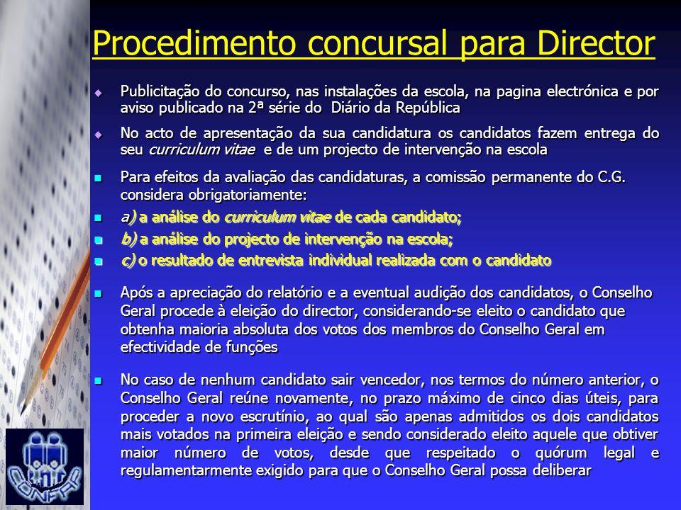 Procedimento concursal para Director