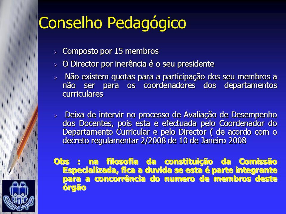 Conselho Pedagógico Composto por 15 membros
