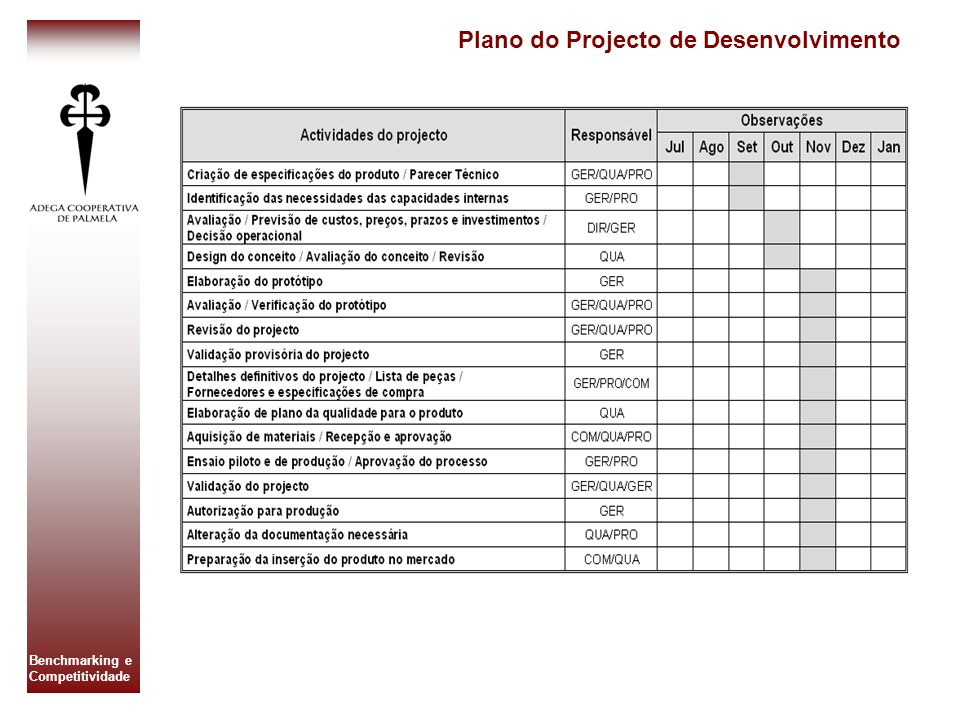 Plano do Projecto de Desenvolvimento