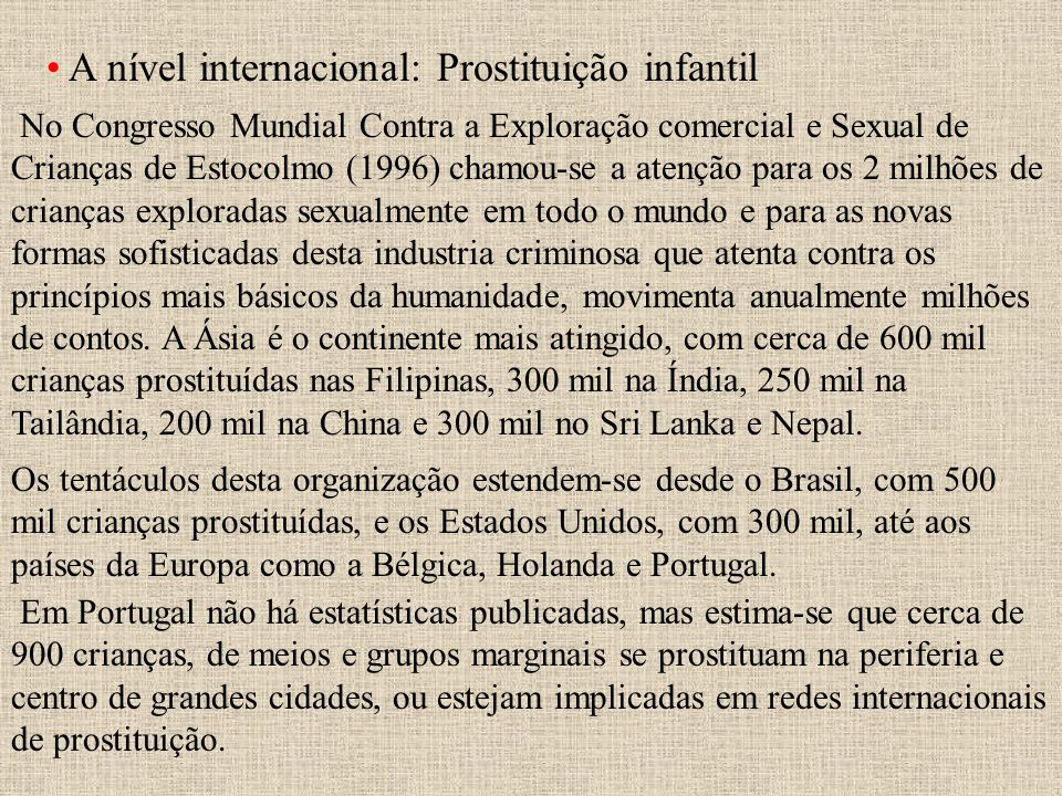 A nível internacional: Prostituição infantil