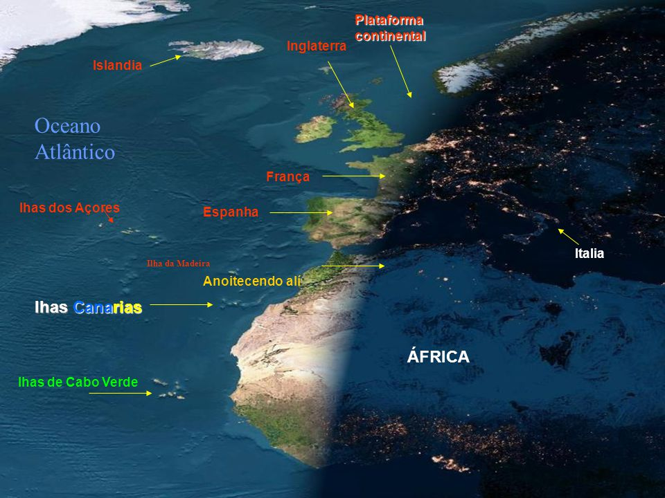 Oceano Atlântico lhas Canarias ÁFRICA Plataforma continental