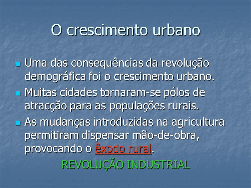O crescimento urbanoUma das consequências da revolução demográfica foi o crescimento urbano.