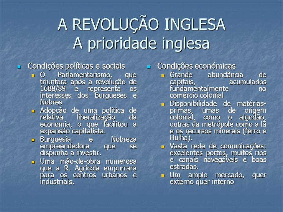 A REVOLUÇÃO INGLESA A prioridade inglesa