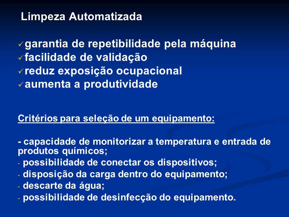 garantia de repetibilidade pela máquina facilidade de validação