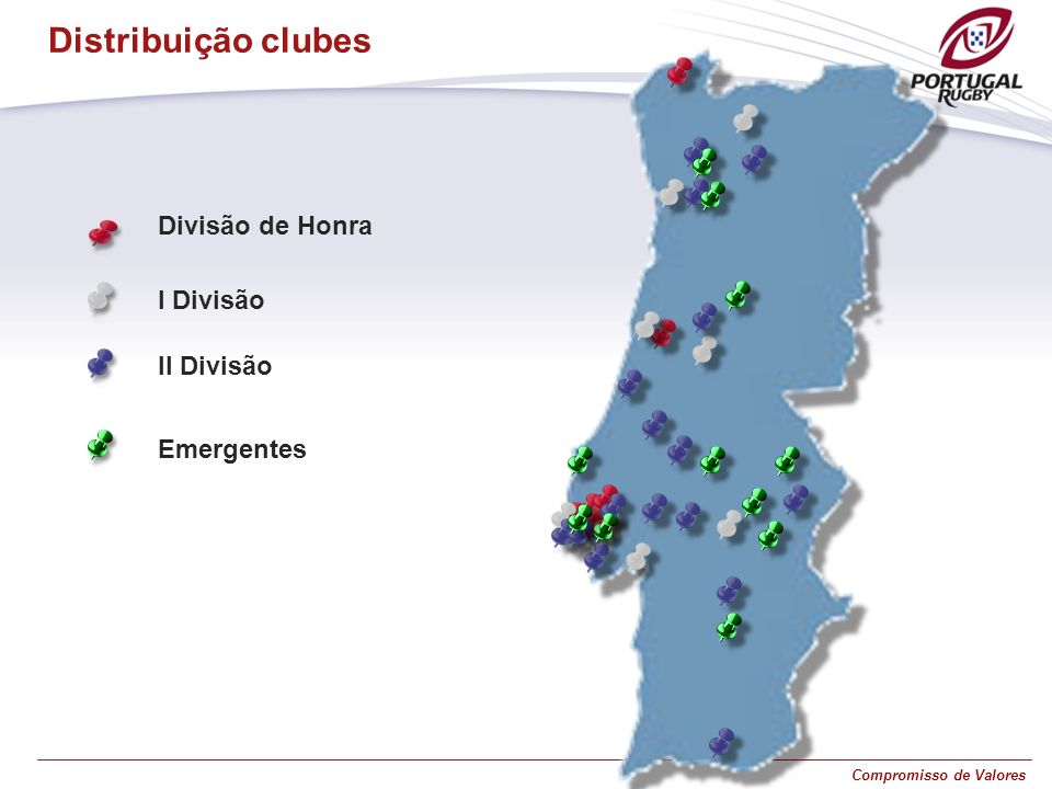 Distribuição clubes Divisão de Honra I Divisão II Divisão Emergentes