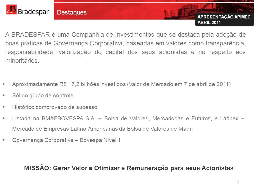 MISSÃO: Gerar Valor e Otimizar a Remuneração para seus Acionistas