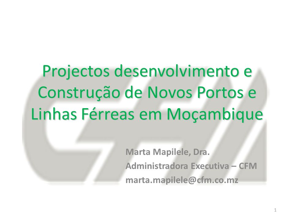Projectos desenvolvimento e Construção de Novos Portos e Linhas Férreas em Moçambique